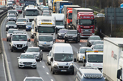 ©Licensed to London News Pictures 19/12/2019. <br /> Dartford ,UK. Queuing traffic on the A282 Dartford crossing approach in Dartford, Kent. Motorists are facing heavy traffic today as people try to make an early Christmas getaway on the roads. Photo credit: Grant Falvey/LNP