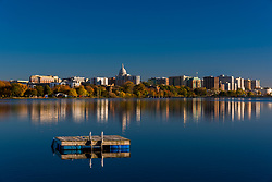 Madison, Wisconsin skyline on a calm, fall morning.
