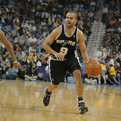 29 March 2009: San Antonio Spurs guard Tony Parker (9) drives with the ball during a 90-86 victory by the New Orleans Hornets over Southwestern Division rivals the San Antonio Spurs at the New Orleans Arena in New Orleans, Louisiana.