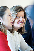 Ana Pastor, Minister of Development, and Fatima Ba?±es, Minister of Employment and Social Security during the appearance of Mariano Rajoy at the PP headquarters to talk about the B?°rcenas case