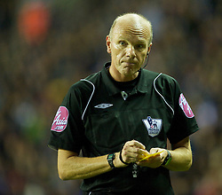 WIGAN, ENGLAND - Tuesday, March 16, 2010: Referee Howard Webb during the Premiership match at the DW Stadium. (Photo by David Rawcliffe/Propaganda)