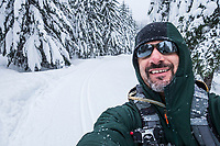 Selfie Portrait while cross country skiing out at Cabin Creek in the Washington State Cascade mountains along Interstate Highway 90, USA.