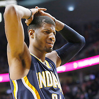02 December 2013: Indiana Pacers small forward Paul George (24) reacts during the Portland Trail Blazers 106-102 victory over the Indiana Pacers at the Moda Center, Portland, Oregon, USA.