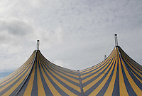 Blue and yellow stripe festival tent