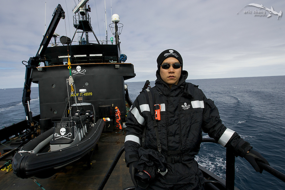 Eric Cheng on the bow of the MY Steve Irwin. (Photo by Adam Lau/Sea Shepherd Conservation Society)
