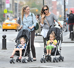 (UK RIGHTS ONLY) The Sex and the City star Sarah Jessica Parker out in NYC with her 3-year-old twins, Tabitha and Marion USA. 03/10/2012<br />BYLINE MUST READ : EAGLEPRESS/GOTCHA IMAGES<br /><br />Copyright by © Gotcha Images Ltd. All rights reserved.<br />Usage of this image is conditional upon the acceptance <br />of Gotcha Images Ltd, terms and conditions available at<br />www.gotchaimages.com