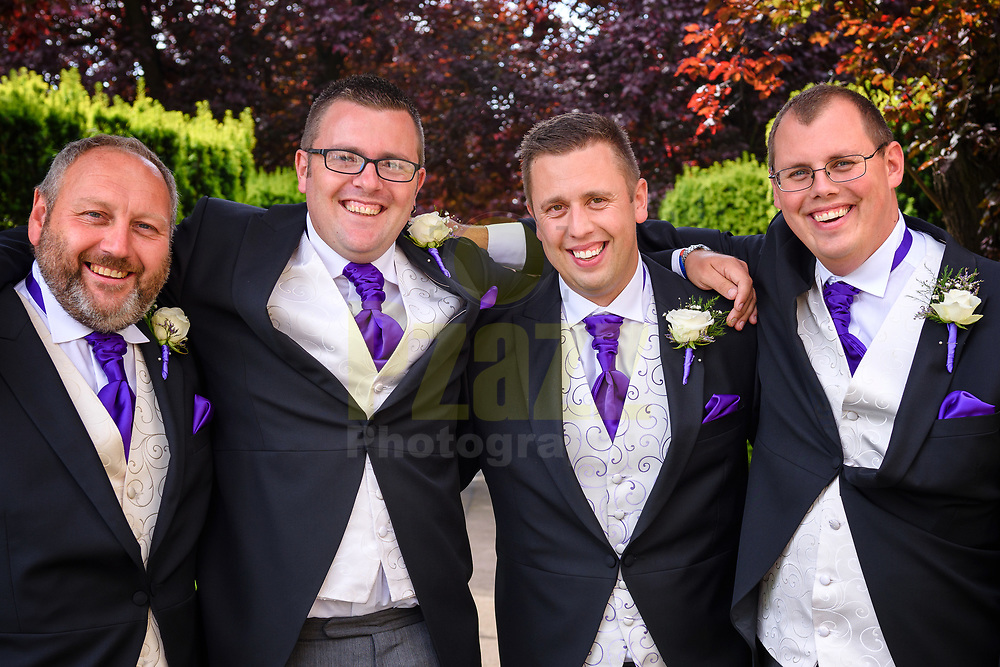 The Happy Groom and his Groomsmen on a glorious sunny day in Hertfordshire