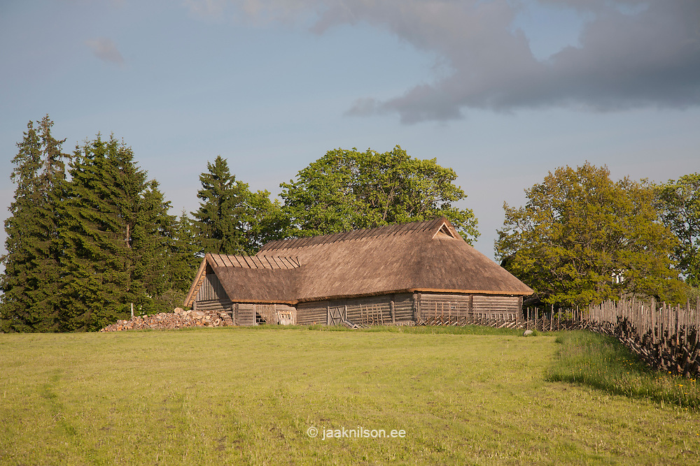 Old Blockhouse Thatch Roof in Tammsaare Museum, Järva County, Estonia