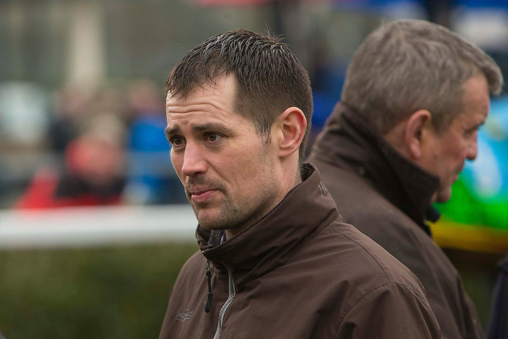 Navan Races, Saturday 27th February 2016.<br /> Trainer Matthew Smith pictured in the parade ring before the start of the Garlow Cross handicap Hurdle<br /> Photo: David Mullen /www.cyberimages.net / 2016