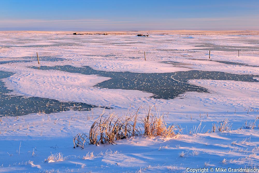 First light on prairie, Near Regina, Saskatchewan, Canada
