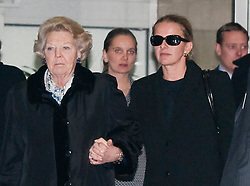 © Licensed to London News Pictures. 02/03/2012. London, UK. Queen Beatrix of the Netherlands and Princess Mabel of Orange-Nassau leaving The Wellington Hospital in London hand in hand today (02/03/2012) after visiting Prince Friso at His Hospital bed. Prince Johan Friso, who has been in a coma since a skiing accident two weeks ago, has been flown from Austria to the London Hospital. Photo credit : Ben Cawthra/LNP
