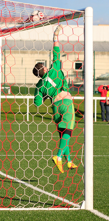 Spartans v East Kilbride Scottish Cup 2nd Round 4 October 2014; East Kilbride keeper Jacob Kean, pushes a free kick onto the crossbar as Spartans push for a late winner;