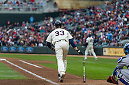 Justin Morneau #33 of the Minnesota Twins watches his home run during a game against the New York Mets on April 13, 2013 at Target Field in Minneapolis, Minnesota.  The Mets defeated the Twins 4 to 2.  Photo: Ben Krause
