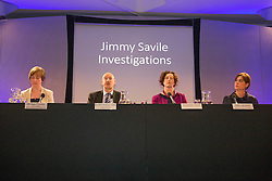 © Licensed to London News Pictures. 26/06/2014. LONDON.  (L-R) Dr Sue Proctor, Lead Investigator, Leeds Teaching Hospitals Trust.  Dr Bill Kirkup CBE, Lead Investigator, Broadmoor Hospital.  Stephanie Hood, Press Conference Chair.  Kate Lampard, Independent oversight of investigations . The Lampard Report Press Conference.  An independent oversight of NHS and Department of Health investigations into matters relating to Jimmy Savile. Photo credit : Graham Eva/LNP