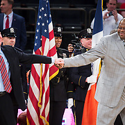 January 9, 2018, New York, NY : St. John's head coach Chris Mullin, left, and Georgetown head coach Patrick Ewing, right, greet each other before Tuesday night's matchup between the Hoyas and Red Storm at the Garden. In something of a rematch of their 1985 contest, Basketball greats Patrick Ewing and Chris Mullin returned to Madison Square Garden on Tuesday night to face off as coaches with their respective Georgetown and St. John's teams.  CREDIT: Karsten Moran for The New York Times