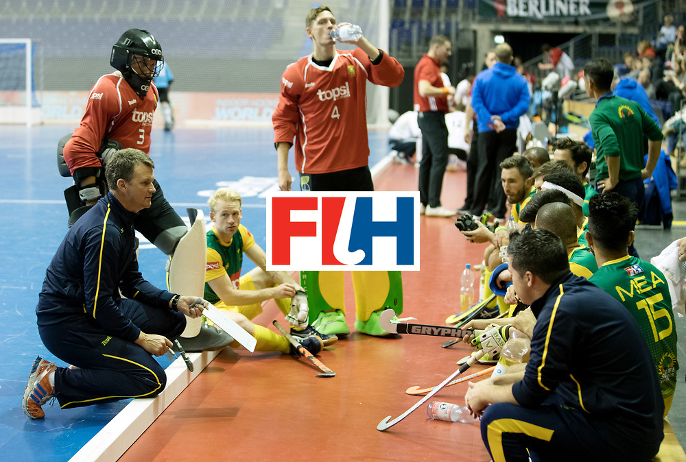 BERLIN - Indoor Hockey World Cup<br /> Men: Russia - South Africa<br /> foto: South African time-out.<br /> COPYRIGHT WILLEM VERNES