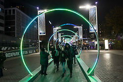 © Licensed to London News Pictures. 20/11/2019. London, UK. Light installation titled Sonic Runaway showing as part of Winterfest 2019 at Wembley Park. Photo credit: Ray Tang/LNP