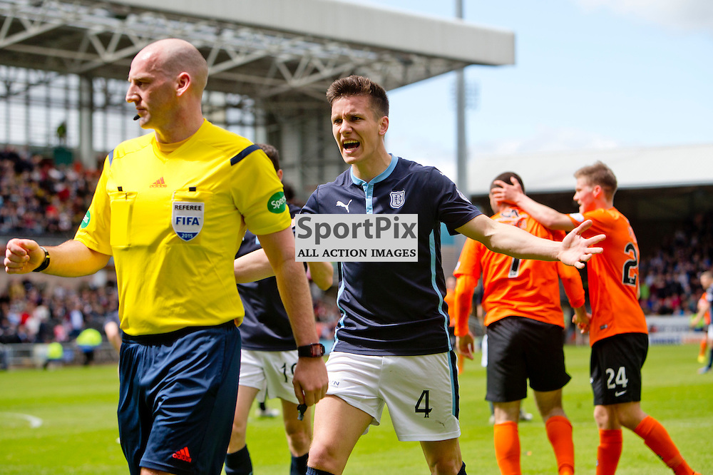 Dundee Utd v Dundee SPFL Premiership Tannadice Park 24 May 2015 <br /> Thomas Konrad argues over the penalty decision<br /> CRAIG BROWN | sportPix.org.uk