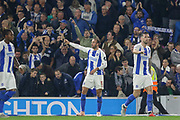 GOAL - Brighton and Hove Albion striker Glenn Murray (17) celebrates 1-0 during the Premier League match between Brighton and Hove Albion and West Ham United at the American Express Community Stadium, Brighton and Hove, England on 5 October 2018.