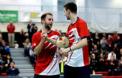 Chris Coles (Capt) of Bristol Jets celebrates with Alex Lane of Bristol Jets after winning in the men's doubles together to seal a 4-1 win over the Surrey Smashers - Photo mandatory by-line: Robbie Stephenson/JMP - 06/02/2017 - BADMINTON - SGS Wise Arena - Bristol, England - Bristol Jets v Surrey Smashers - AJ Bell National Badminton League