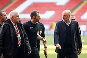 Fleetwood Town manager Uwe Rosler confronts the match officials at half time during the EFL Sky Bet League 1 match between Charlton Athletic and Fleetwood Town at The Valley, London, England on 4 February 2017. Photo by Andy Walter.