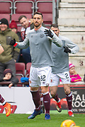 New signig David Vanecek (#32) of Heart of Midlothian FC warms up before the 4th round of the William Hill Scottish Cup match between Heart of Midlothian and Livingston at Tynecastle Stadium, Edinburgh, Scotland on 20 January 2019.