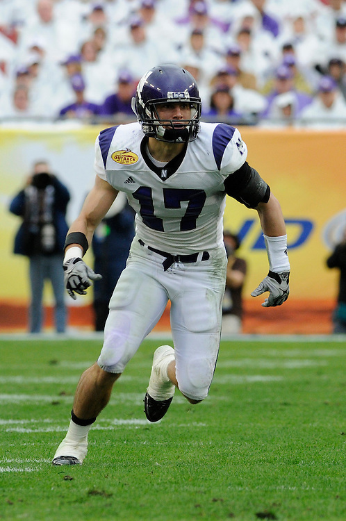 January 1, 2010: Brad Phillips of the Northwestern Wildcats in action during the NCAA football game between the Northwestern Wildcats and the Auburn Tigers in the Outback Bowl. The Tigers defeated the Wildcats 38-35 in overtime.
