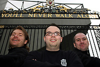 Photo: Paul Thomas.<br /> Photography of Norwegian Liverpool supporters at Anfield. 04/03/2007.<br /> <br /> Norwegian Liverpool supporters Andre Oien (C), Einar Kvande and Per Arild Soly (L).