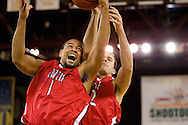 November 27, 2008: Seattle University's Michael Wright (1) and Austen Powers (42) battle for a rebound in the opening round of the 2008 Great Alaska Shootout at the Sullivan Arena.