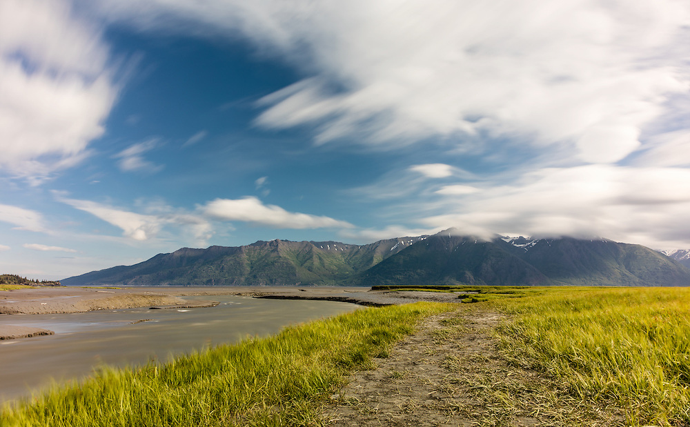 Long exposure of Resurrection Creek and the Chugach Mountains of Turnagain Arm from Hope in Southcentral Alaska. Spring. Morning.