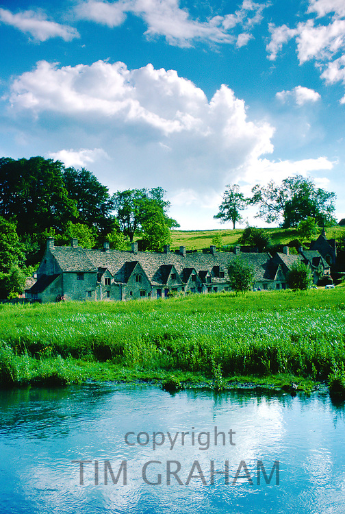 Arlington Row cottages in Bibury in the Cotswolds, Gloucestershire, England