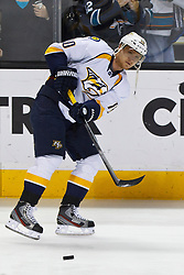 Mar 15, 2012; San Jose, CA, USA; Nashville Predators right wing Martin Erat (10) warms up before the game against the San Jose Sharks at HP Pavilion. San Jose defeated Nashville 2-1 in shootouts. Mandatory Credit: Jason O. Watson-US PRESSWIRE
