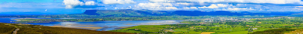 View of Sligo and Sligo bay viewed from Knocknarea Cairn shot at 85mm offering stunning levels of detail including, from left, the Donegal coastline in the background, Rosse's Point, Slievemore, Sligo Bay, Sligo and Lough Gill