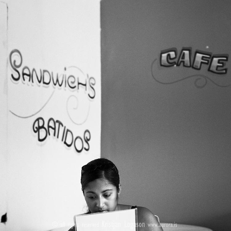 Woman at a cafe in San Juan del Sur, Nicaragua