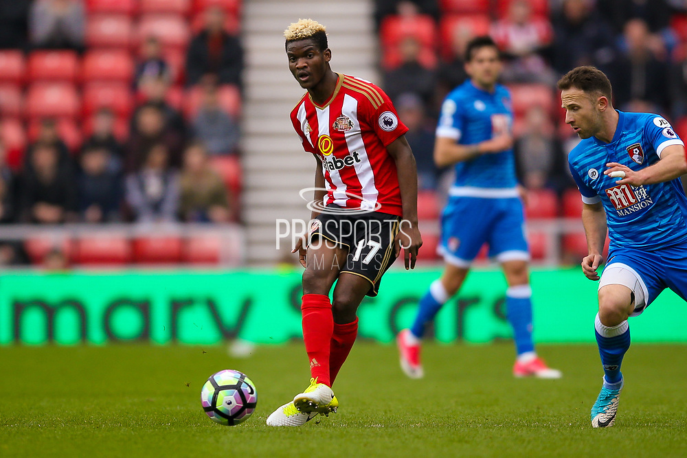 Sunderland midfielder Didier Ndong (17) in action  during the Premier League match between Sunderland and Bournemouth at the Stadium Of Light, Sunderland, England on 29 April 2017. Photo by Simon Davies.