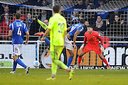 Mikael Mandron (19) of Eastleigh scores a goal to give a 1-0 lead to the home team during the Vanarama National League match between Eastleigh and York City at Arena Stadium, Eastleigh, United Kingdom on 12 November 2016. Photo by Graham Hunt.