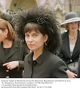 Evgenia  Sands at Memorial service for Maureen, Marchioness of Dufferin & Ava. St. Margaret's. Westminster. London. 15/7/98. film 98527f12<br />