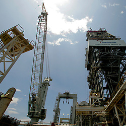 The Transocean Development Driller II rig leased by BP Plc which is drilling a backup relief well at the BP Plc Macondo well site in the Gulf of Mexico off the coast of Louisiana, U.S., on Saturday, August 7, 2010. BP successfully used the 'static kill', procedure  pumping mud into the top of the damaged well, BP plans now to finish a relief well to permanently plug the well by mid-August. Photographer: Derick E. Hingle/Bloomberg