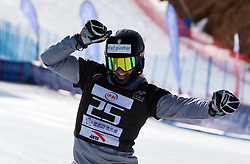 ZHANGJIAKOU, Feb. 24, 2019  Daniele Bagozza of Italy celebrates during the men's Parallel Slalom final of FIS Snowboard World Cup 2018-2019 in Zhangjiakou of north China's Hebei Province, on Feb. 24, 2019. Daniele Bagozza won the first. (Credit Image: © Xinhua via ZUMA Wire)