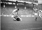 The All Ireland Senior Football Final.1982.19.09.1982.09.19.1982.19th September 1982..The senior final was contested between Offaly and Kerry. Offaly won the title by the narrowest of margins 1.15 to 17 points..Players from both teams struggle for possession of the ball.