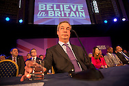 Date: 04/03/15 <br /> PH:  Nick Edwards<br /> Pictured: Nigel Farage <br /> Caption: UKIP leader Nigel Farage attended a immigration speech at the Emmanuel Centre in Westminster, Central London today. Stephen Wolf unveiled the UKIP's immigration policy