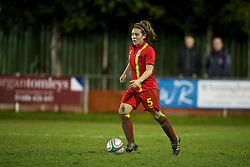 NEWTOWN, WALES - Friday, February 1, 2013: Wales' Danielle Oates in action against Norway during the Women's Under-19 International Friendly match at Latham Park. (Pic by David Rawcliffe/Propaganda)