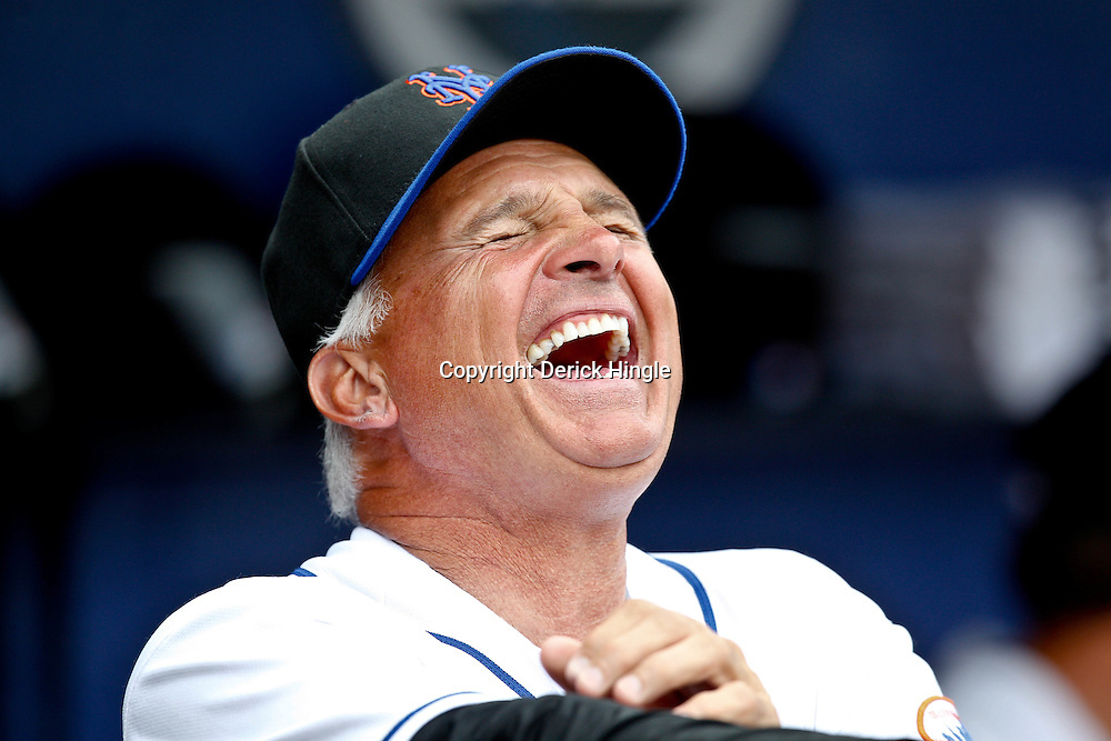 March 6, 2011; Port St. Lucie, FL, USA; New York Mets manager Terry Collins (10) laughs in the dugout before a spring training exhibition game against the Boston Red Sox at Digital Domain Park. Mandatory Credit: Derick E. Hingle-US PRESSWIRE