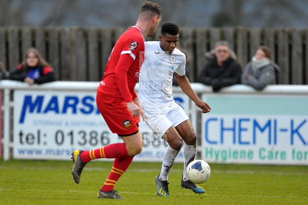 TELFORD COPYRIGHT MIKE SHERIDAN Riccardo Calder of Telford during the Vanarama Conference North fixture between AFC Telford United and Gloucester City at Jubilee Stadium, Evesham on Saturday, December 28, 2019.<br /> <br /> Picture credit: Mike Sheridan/Ultrapress<br /> <br /> MS201920-037