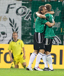 28.07.2011, Keine Sorgen Arena, Ried im Innkreis, AUT, UEFA EL Qualifikation, SV Josko Ried vs Brondby IF, im Bild Stefan Lexa, (SV Josko Ried, #8) Gratuliert Daniel Royer, (SV Josko Ried, #7) zum 2:0 // during football match between SV Josko Ried (AUT) and Brondby IF (DEN) 1st Leg of Europa League third Qualifying Round, on July 28, 2011 at Keine Sorgen Arena Ried im Innkreis, Austria. EXPA Pictures © 2011, PhotoCredit: EXPA/ R. Hackl