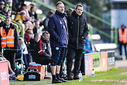 Forest Green Rovers assistant manager, Scott Lindsey and Forest Green Rovers manager, Mark Cooper during the EFL Sky Bet League 2 match between Forest Green Rovers and Crewe Alexandra at the New Lawn, Forest Green, United Kingdom on 22 December 2018.
