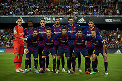 October 8, 2018 - Valencia, Valencia, Spain - Line up of Barcelona (L-R) ter Stegen, Nelson Semedo, Ivan Rakitic, Sergio Busquets, Gerard Pique, Thomas Vermaelen, Lionel Messi, Arthur Melo, Coutinho, Luis Suarez, Jordi Alba during the week 8 of La Liga match between Valencia CF and FC Barcelona at Mestalla Stadium in Valencia, Spain on October 7, 2018. (Credit Image: © Jose Breton/NurPhoto/ZUMA Press)