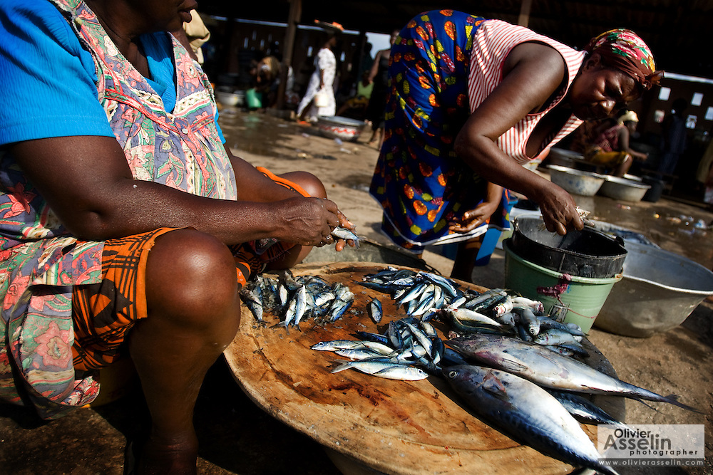 Women sell fish at the market in Elmina, about 130km west of Ghana's capital Accra on Thursday April 9, 2009. Ghanaian women are usually responsible for selling the fish caught by their husbands. Some local fishermen complain that the recent reduction in the amount of fish they catch is not only making it more difficult for them to support their family, but can also be a cause of tension and conflict between husband and wife..