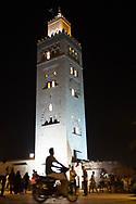 Mosque in Marrakesh, Morocco speeidng motorbike slow shutter speed