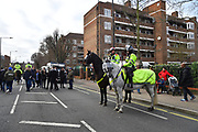 Mounted police outside Loftus Road Stadium as fans arrive for the match ahead of the The FA Cup 3rd round match between Queens Park Rangers and Leeds United at the Loftus Road Stadium, London, England on 6 January 2019.